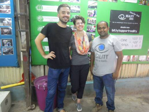 With Jonny Clarke and Asim Shaikh in one of Reality Gives' community centres in Dharavi, after my tour.