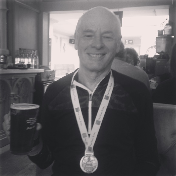 Well deserved pint for the champion.